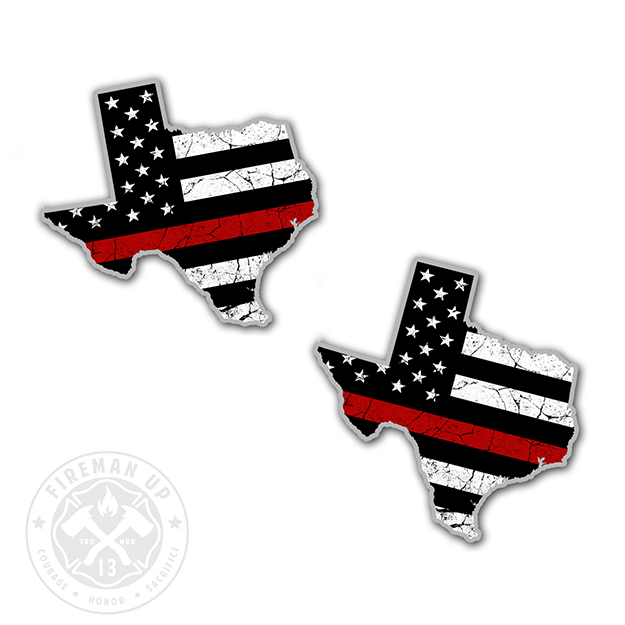 "Texas Thin Red Line USA Flag Tattered - 2"" Sticker Pack"