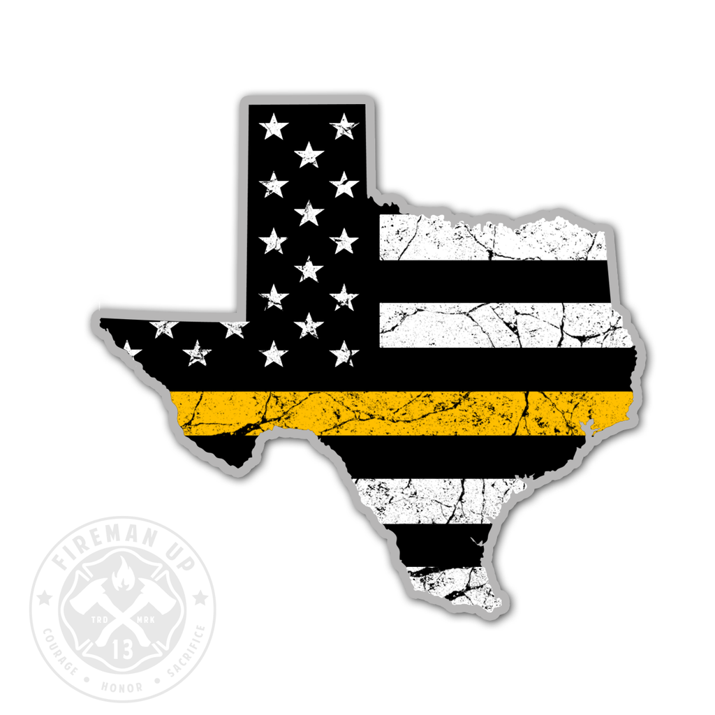 "Texas Thin Gold Line USA Flag Tattered - 4"" Sticker"