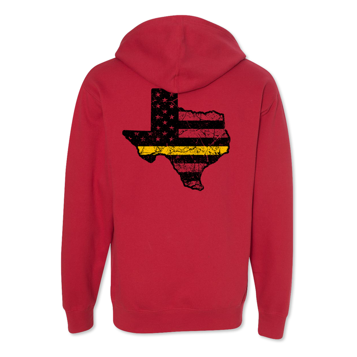 Texas Thin Gold Line USA Flag Tattered - Midweight Hoodie