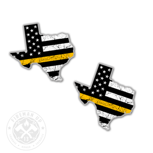 "Texas Thin Gold Line USA Flag Tattered - 2"" Sticker Pack"
