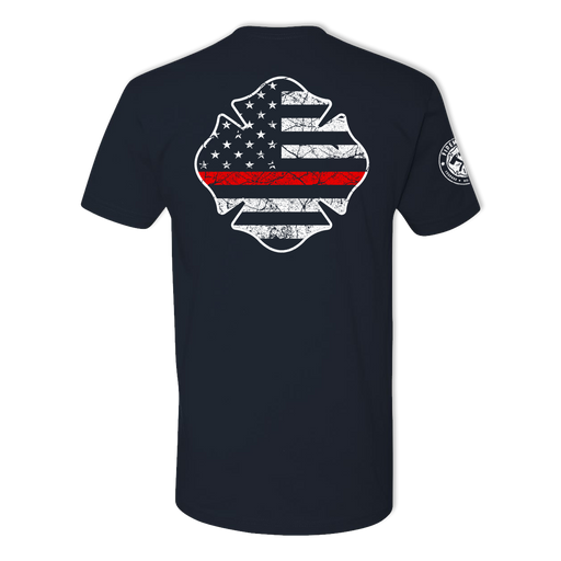 Thin Red Line Maltese USA Tattered Flag  - Men's Cotton Tee