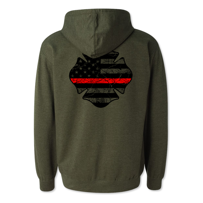 Thin Red Line Maltese USA Tattered Flag - Midweight Hoodie