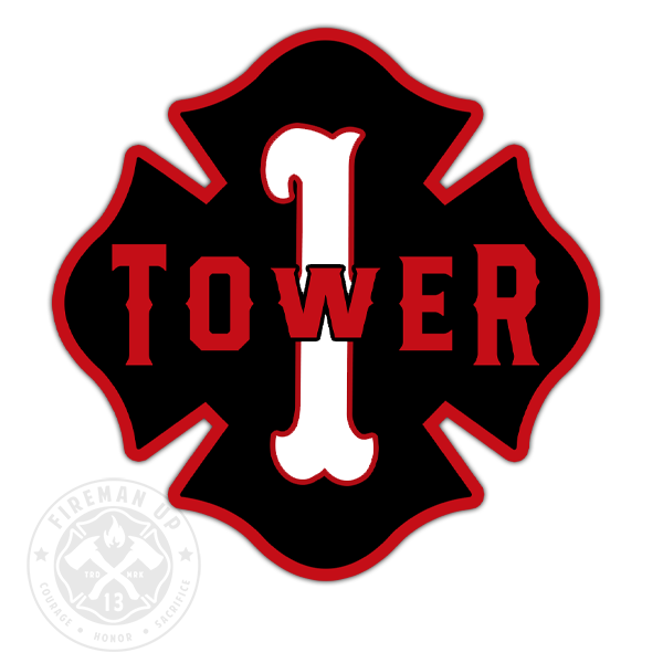 "Tower 1 Outline Number Maltese - 4"" Sticker"