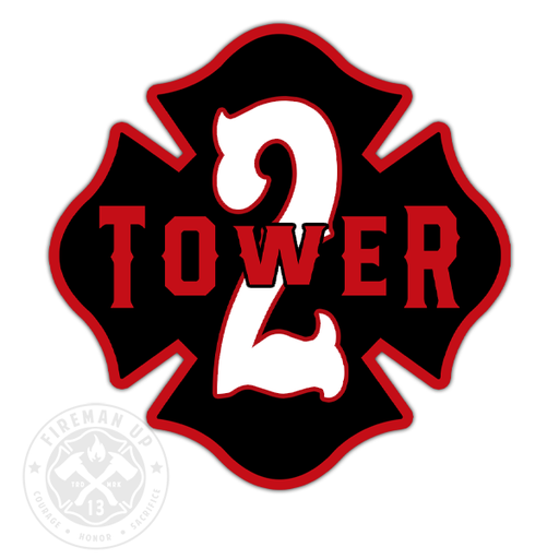"Tower 2 Outline Number Maltese - 4"" Sticker"