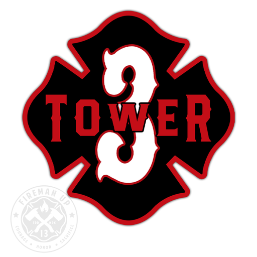 "Tower 3 Outline Number Maltese - 4"" Sticker"