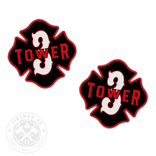 "Tower 3 Outline Number Maltese - 2"" Sticker Pack"