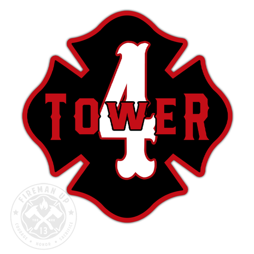 "Tower 4 Outline Number Maltese - 4"" Sticker"
