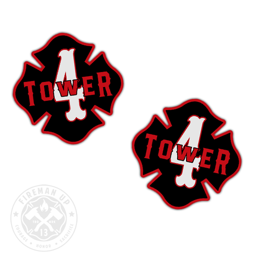 "Tower 4 Outline Number Maltese - 2"" Sticker Pack"