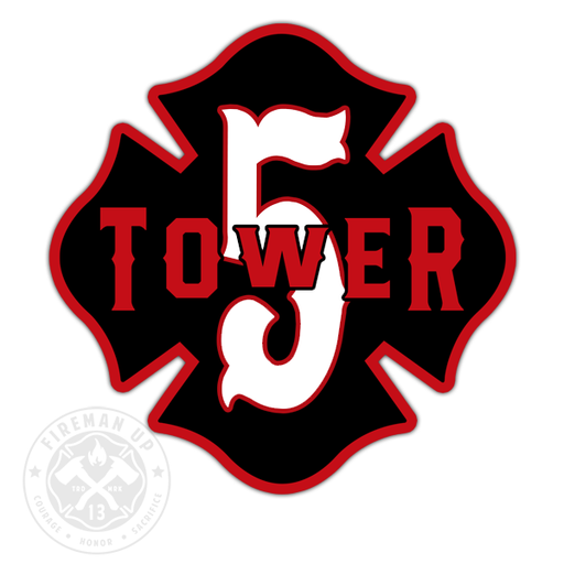 "Tower 5 Outline Number Maltese - 4"" Sticker"