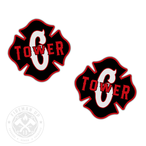 "Tower 6 Outline Number Maltese - 2"" Sticker Pack"