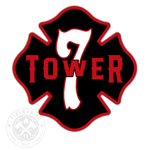 "Tower 7 Outline Number Maltese - 4"" Sticker"
