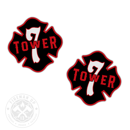 "Tower 7 Outline Number Maltese - 2"" Sticker Pack"
