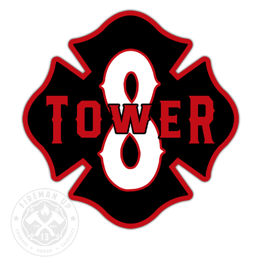 "Tower 8 Outline Number Maltese - 4"" Sticker"