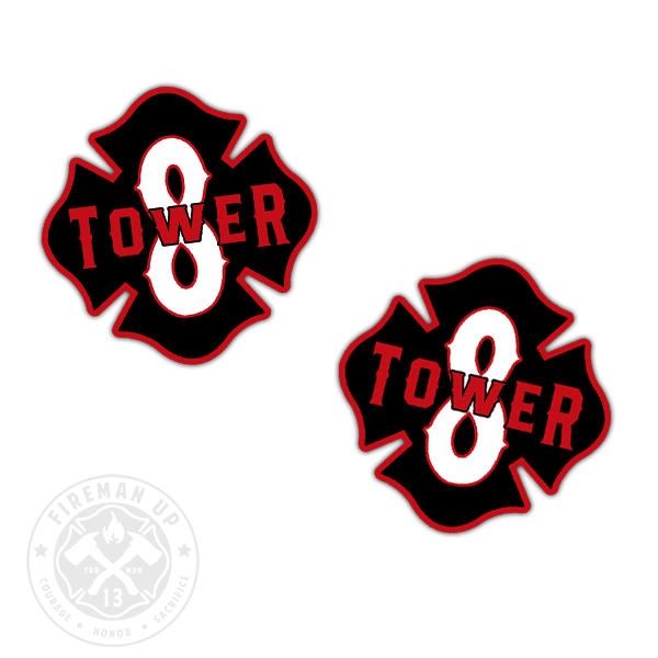 "Tower 8 Outline Number Maltese - 2"" Sticker Pack"
