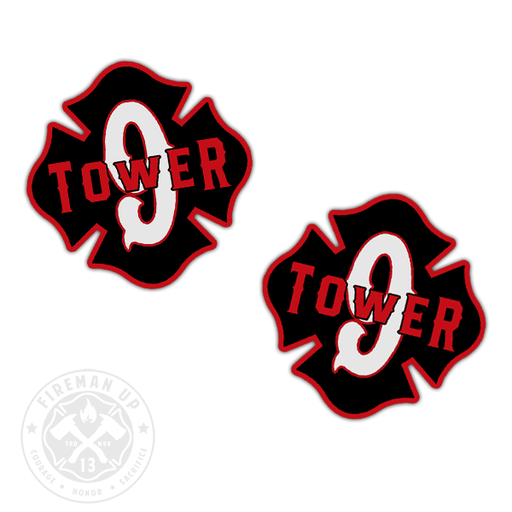 "Tower 9 Outline Number Maltese - 2"" Sticker Pack"
