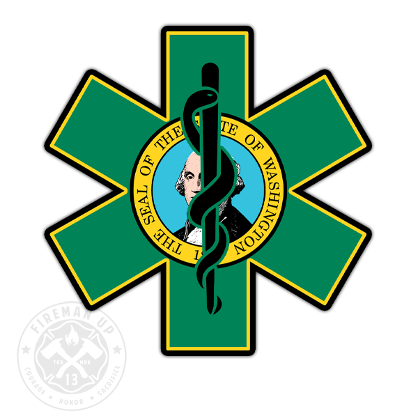 "Washington Flag EMS Star of Life - 4"" Sticker"