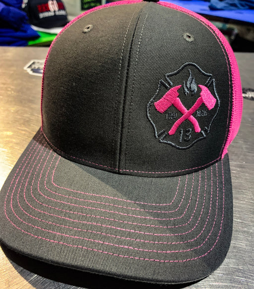 Fireman UP Pink Breast Cancer Hat - Snapback Trucker