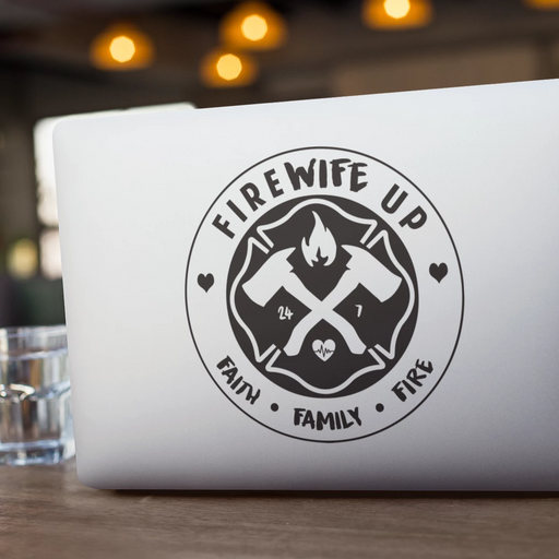 FireWIFE up Circle Logo (Faith Family Fire) - Vinyl Decal