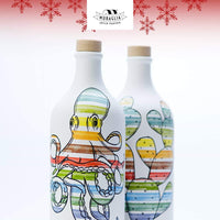 **SALE PRICE** Muraglian Italian Organic Extra Virgin Olive OIl in Artisan Handmade Ceramic Bottle-Octopus Motif