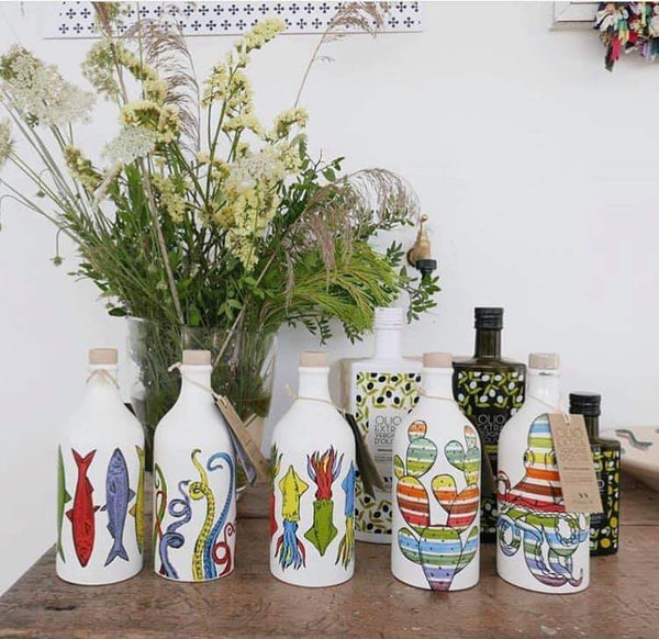 Italian Organic Extra Virgin Olive Oil in Artisan Handmade Ceramic Bottle - Pop Art Line (500ML)