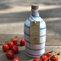 Italian Extra Virgin Olive Oil in Artisan Handmade Ceramic Bottle - Sea Blue Swirl (500ML)