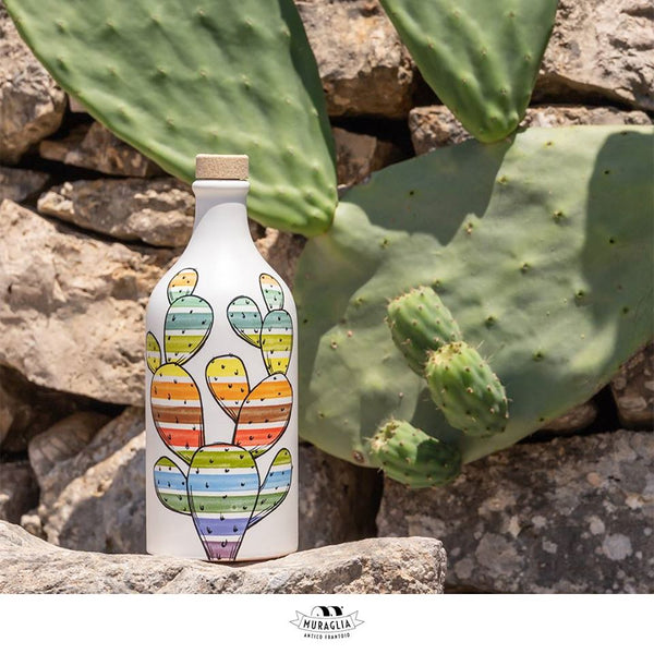 Italian Organic Extra Virgin Olive Oil in Artisan Hand Made Ceramic Bottle - Cactus Motif (500ML$