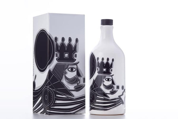 Muraglia Italian Organic Extra Virgin Olive Oil in Artisan Handmade Ceramic Bottle-King motif