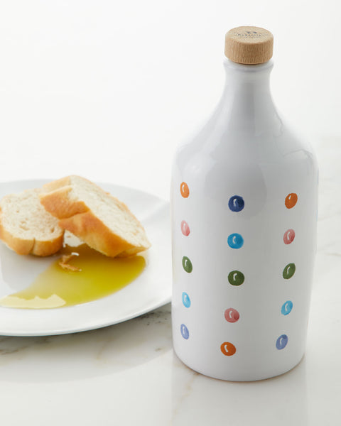 Muraglia Italian Organic Extra Virgin Olive Oil in Artisan Handmade Ceramic Bottle - Polka Dot Motif (500ML)