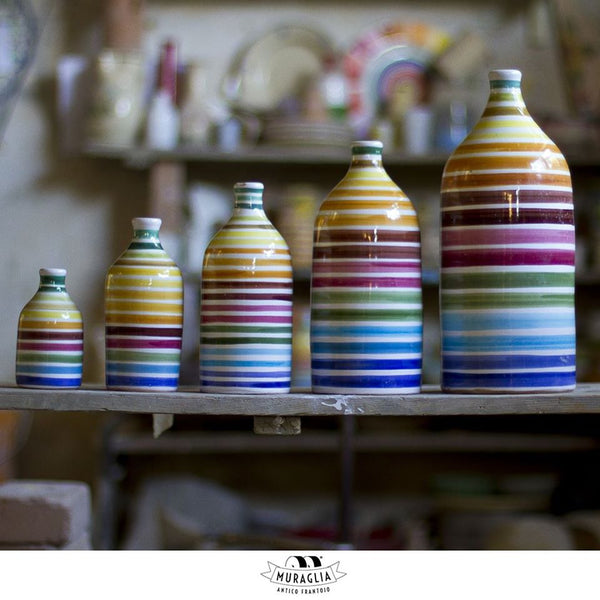 Italian Organic Extra Virgin Olive Oil in Artisan Handmade Ceramic Bottle - Rainbow Motif (500ML)