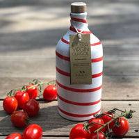 Muraglia Italian Extra Virgin Olive Oil in Artisan Handmade Ceramic Bottle-Red Swirl
