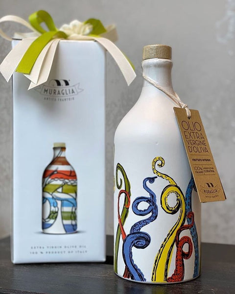 "Italian Organic Extra Virgin Olive Oil in Artisan Handmade Ceramic Bottle - ""Tenacles"" Pop Art Line (500ML)"