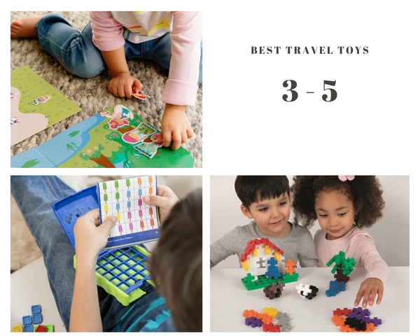 Best travel toys for 3 to 5 years old. Play again stickers. Kanoodle Junior. Plus plus BIG