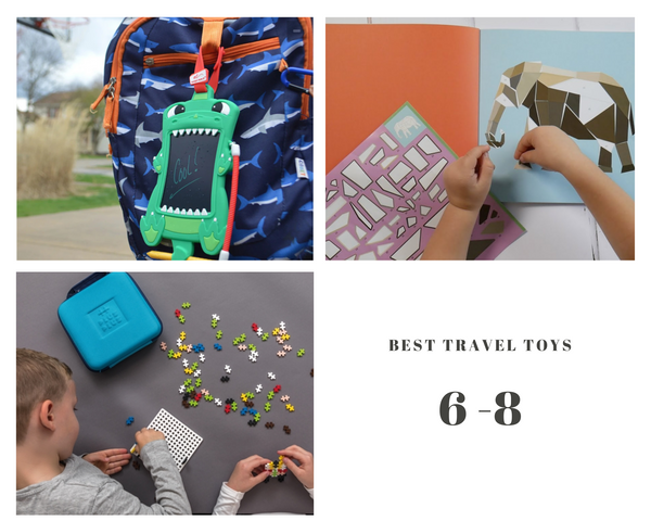 Best travel toys for kids age 6 to 8 years old. Sketch pals, Paint by sticker, plus plus travel case