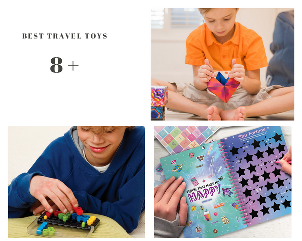 Best travel toys for 8 and up. shashibo fidget toy, iq twist logic puzzle, all about me scratch and sticker journal