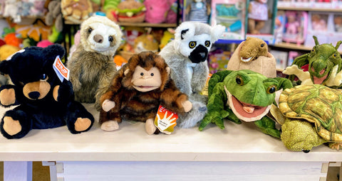 sloths lemur and bear puppets