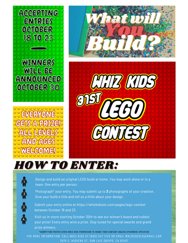 What will you build for the 31st Annual LEGO Contest? Accepting entries from October 17th to 23rd. Winners will be announced October 30th. Create an original LEGO creation at home and enter pictures below. Everyone wins a prize. Enter Today!
