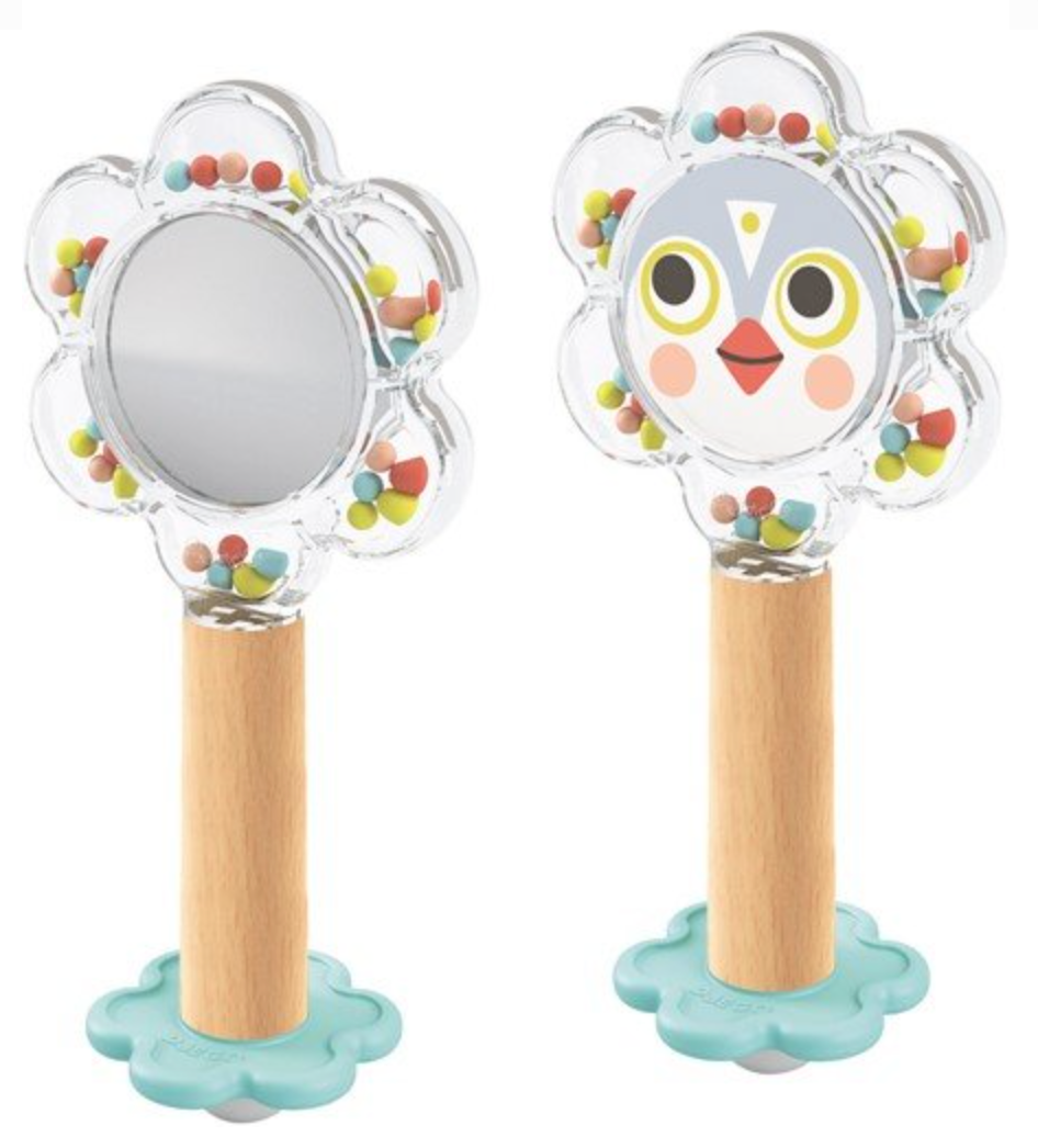 Wooden Baby Flower Rattle with Mirror - Djeco