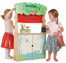 girls playing with Tender Leaf Woodland Stores and Theatre