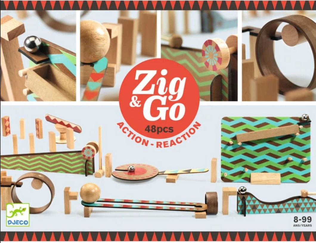 Zig and Go Action-Reaction Construction Set (48 piece) - Djeco