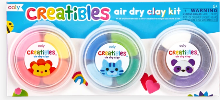 Mold and create whatever you can imagine with Creatibles Air Dry Clay Kit. This art kit contains pliable clay in an array of hues with 3 shaping tools that'll set you on your way. No baking needed and you can continue to decorate once your clay is dry with paint and markers.