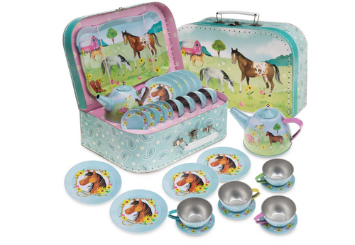 Jewelkeeper 15 Piece Kids Pretend Toy Tin Tea Set & Carrying Case