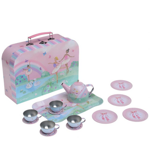 Jewelkeeper 15 Piece Girls Pretend Toy Tin Tea Set & Carrying Case