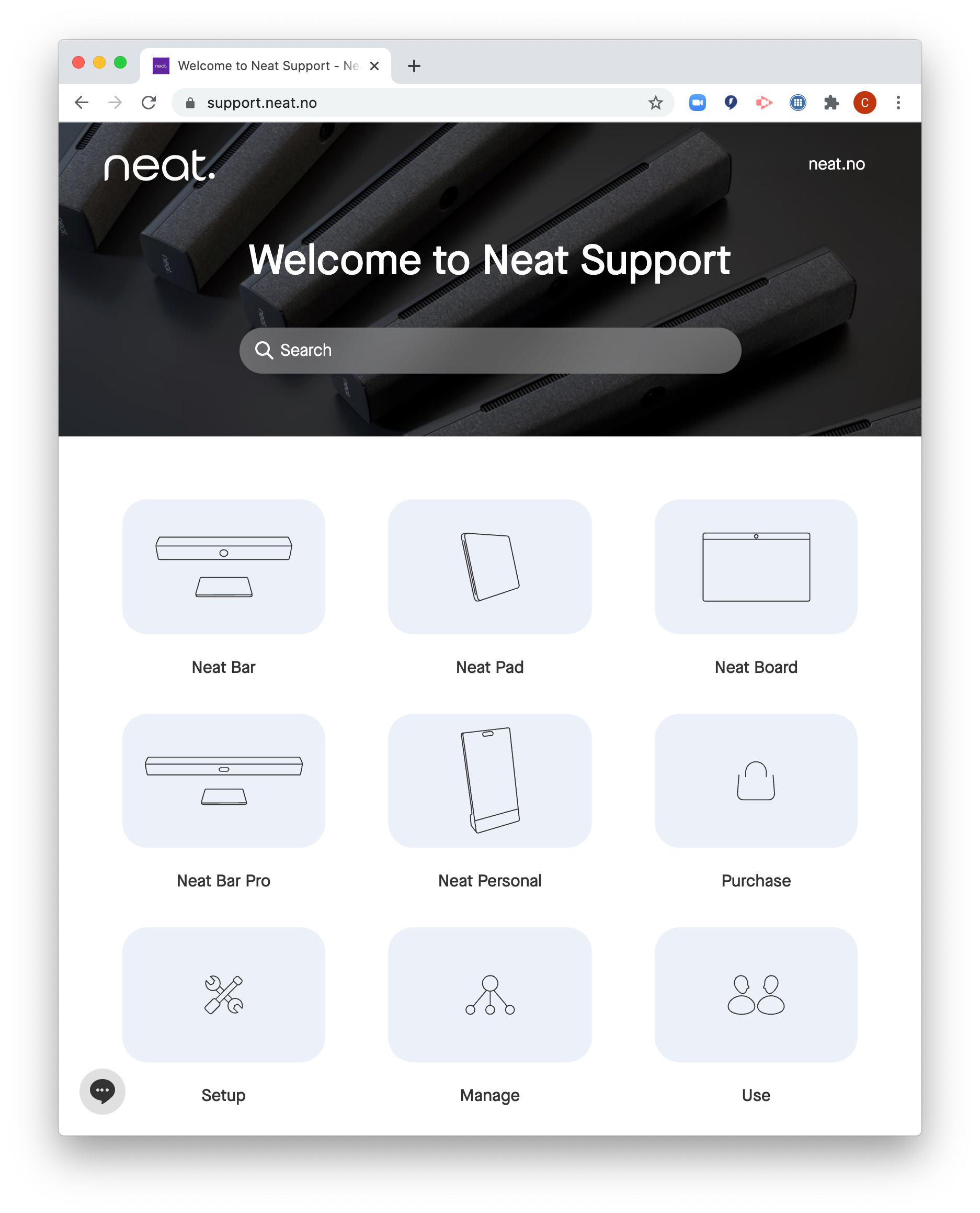 Link to the official Neat Support site