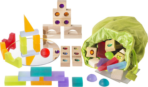 Treasure Building Blocks in Velvet Bag