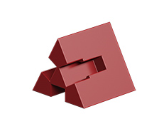 Angular block 60° with 3 grooves, red