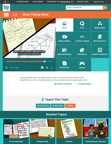 Study and Exam Skills @BrainPOP.com