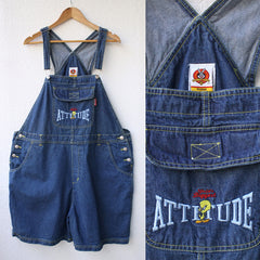 Attitude Denim Tweety Bird Overall Shorts