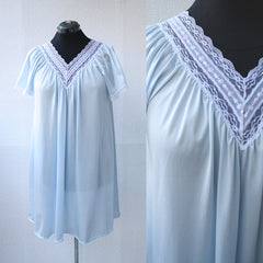 Baby Blue Deep V Nightgown