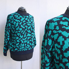 Emerald 80s Tetris Knit Sweater