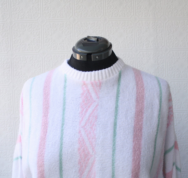 Peppermint Stripe Fuzzy Sweater
